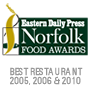 edp norfolk food and drink awards 2005, 2006 and 2010 best restaurant