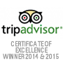 Trip Advisor certificate of exellence winner 2014